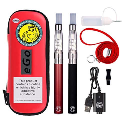 Wolfteeth 2 pack ce4 e sigaretta starter kit | 1100 mah batteria ricaricabile | ce4 atomizzatore liquido ricaricabile | sigaretta elettronica vaporizzatore case set doppi| senza nicotina e tabacco 1234 (nero & rosso)