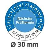 Avery Zweckform 6988 Prüfplaketten (80 Prüfaufkleber aus Vinyl, nächster Prüftermin 2019-2024, Ø 30mm,  im praktischen Block) blau