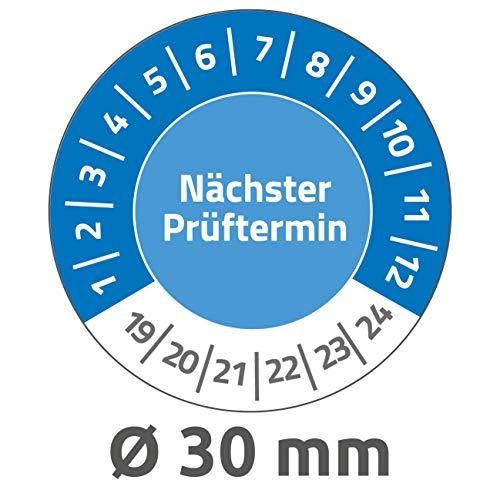AVERY Zweckform 6990 fälschungssichere Prüfplaketten Nächster Prüftermin 2019-2024 (stark selbstklebend, Kleinformat, Ø 30 mm, 80 Aufkleber auf 10 Blatt) blau