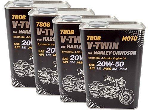 4 X 1 L Olio motore Mannol V-Twin 20W-50 Harley Davidson Buell ecc.