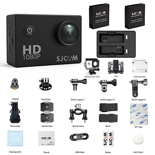 SJCAM SJ4000 Waterproof Action Camera HD 1080P Underwater Camera 12MP Sports Video Camcorder 170°Wide Angle Len 2.0 LCD Screen Display (SJ4000 Dual Charger+2 Extra Batteries)…