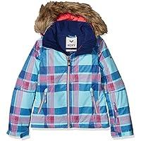 Roxy-Giacca da sci da ragazza Daya Plaid Blue Radiance, taglia: 12 anni (taglia del produttore: 12/L)