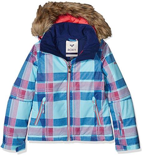 Roxy Chaqueta de esquí para niña Daya Plaid Blue Radiance fr: 14ans (talla fabricante: 14/XL)