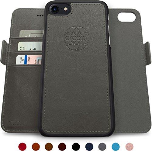 dreem Fibonacci 2in1 Handyhülle Flipcase für iPhone 7/8 | Magnetisches iPhone Case | TPU Etui Lederhülle Schutzhülle, RFID Schutz, Veganes Kunstleder, Geschenkbox | Grau