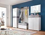 Garderoben-Set, Garderobe, Flurgarderobe, Diele, Schuhschrank, Garderobenschrank, Paneel, Hutablage, Schrank, Spiegel, weiß, Beton-Optik, 5-tlg.