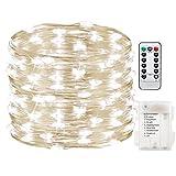 MMLC Outdoor 20M 200 LEDs wasserdichte Batterien Home Dekoration Parteien Hochzeiten Beleuchtung Lichter LED Light Garland (Weiß)
