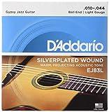 D'Addario Cordes pour guitare acoustique jazz manouche D'Addario EJ83L, extrémité à boule, Light, 10-44
