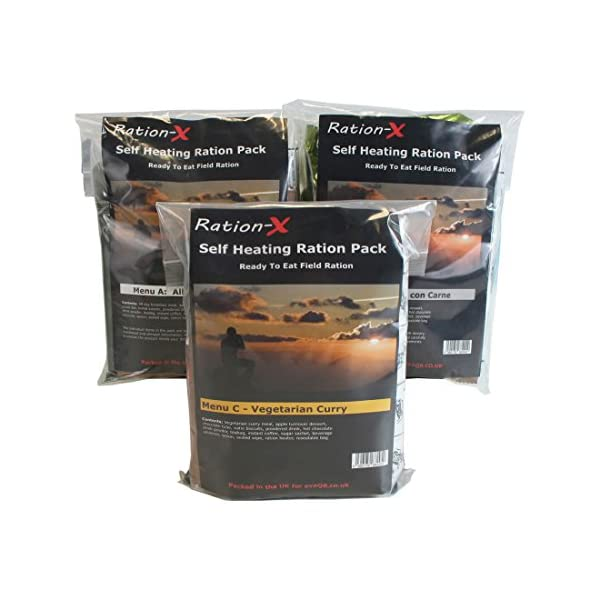 Pack of Three Self Heating Field Ration Packs - Ready to Eat Meals Menu A, B & D