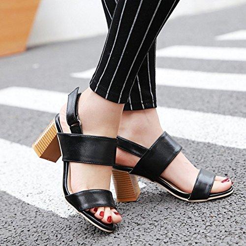 TAOFFEN Femmes Mode Bout Ouvert Sandales Chunky Talons Moyen Chaussures De Scratch Noir