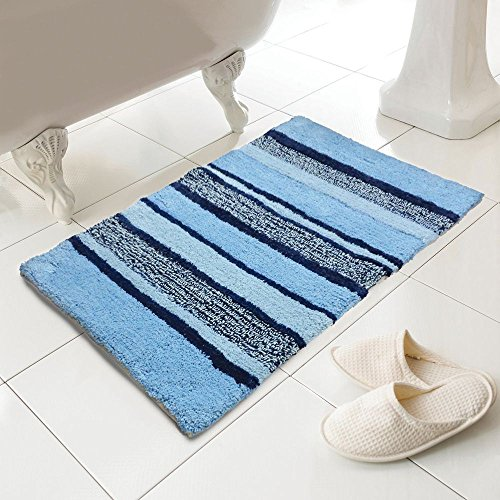 Tony 's Textiles–100% algodón Heavy Weight Tonal rayas azul alfombra de alfombrilla de baño (estándar)