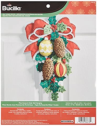 Bucilla Pinecones and Holly Wall Hanging Felt Applique Kit-13-inch x 17-inch