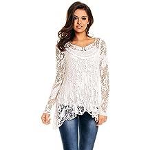 23e824c164ea Italy Mayaadi Damen Tunika 2 tlg. Spitze Lagenlook Zipfel Shirt Bluse  Passend für S-L 8054
