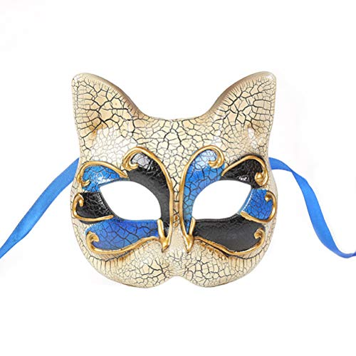 Amosfun Katze Maske Kätzchen Maske Halloween Maske für Katze Party Kitty Party Kinder Kostüme Foto Prop Dress Up Halloween Kinder Make-up Party Maske Riss Halbes Gesicht Maskerade Maske (Kind Kitty Kostüm)