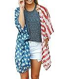 Damen Cardigan Kimono 3/4 Arm Fledermausärmel Locker Tops Drucken Usa Flagge Muster Modisch Outdoor Outwear Bikini Cover Up Beachwear Tunika Blusen Für Mädchen