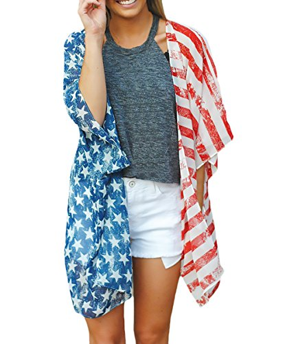 HX fashion Damen Cardigan Kimono 3/4 Arm Fledermausärmel Locker Tops Drucken Usa Flagge Muster Modisch Outdoor Outwear Bikini Cover Up Beachwear Tunika Blusen Für Mädchen
