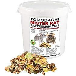 Tomodachi Rattenfutter, Rattennahrung, Alleinfutter für Ratten mit tierischen Proteinen (Bachflohkrebse), leckerem Gemüse, Körnern, Nüssen, Ratten Hauptfutter, Mister Rat Rattenmahlzeit 10 L Eimer