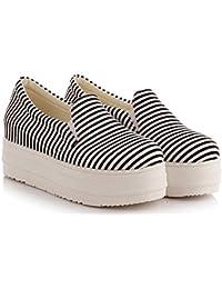 Aisun Damen Rund Zehe Streifen Loafer Plateau Sneaker Schwarz 41 EU