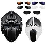 Hunting Explorer Casque complet de tête de robot pour l'équitation tactique nécessaire ou de moto (maillage en acier / bleu / lunettes noires)