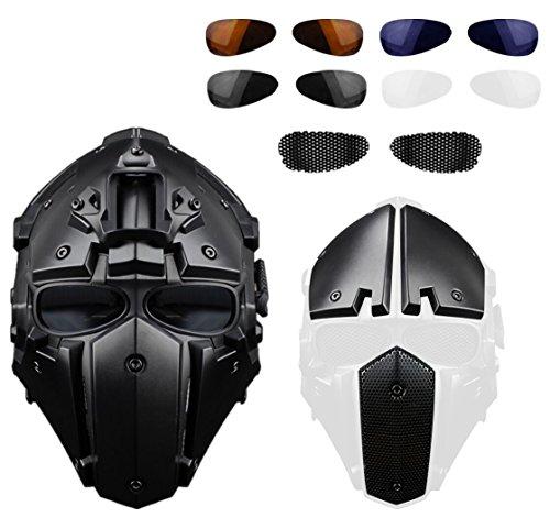 Hunting Explorer Roboter voller Kopf Helm für taktische notwendig oder Motorradfahren (Stahlgitter / blau / schwarz Brille)