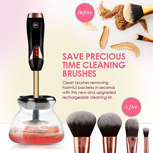Electric Makeup Brush Cleaner by Livewell - Rechargeable, No Batteries Needed - Clean Make Up Brushes Easily With Professional Cleanser Tool - Spinner and Dryer - Beauty Gifts For Women - Colour Black