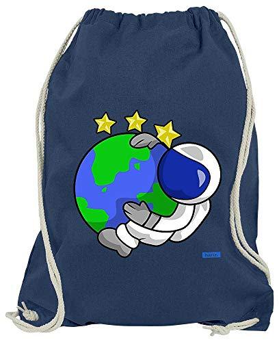HARIZ Turnbeutel Astronaut Erde Sterne Astronaut Mond Planet Inkl. Geschenk Karte Navy Blau One Size