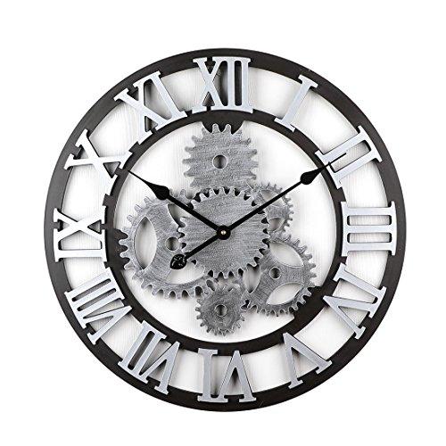 Jinkaka 58cm orologio da parete grande vintage - ingranaggio orologio da muro silenzioso moderno grande in legno per la decorazione di grandi dpazi (sliver 2)