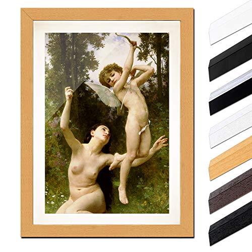Bild mit Rahmen - William-Adolphe Bouguereau Flug der Liebe 60x80cm ca. A1 - Gerahmter Kunstdruck inkl. Galerie Passepartout Alte Meister - Rahmen buche - Moderne Sage-galerie