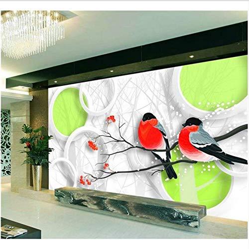 Preisvergleich Produktbild Zybnb 3d tapete wandbild vlies wandaufkleber Frühling zwei vogel sofa TV hintergrund malerei 3d wandbilder tapete