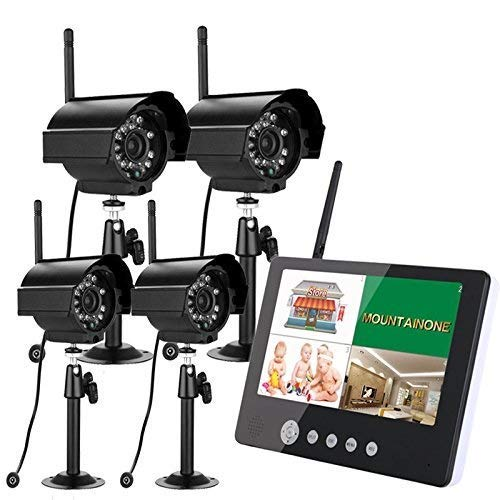 4x9 Zoll TFT Digital 2.4G Wireless Cameras Audio Video Baby Monitore 4CH Quad DVR Security System Mit IR Nachtlichtkameras Ennio 4x9 Zoll TFT Digital 2.4G 2.4 G Wireless Video Audio