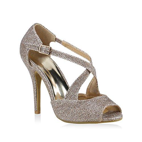 Party Damen Sandaletten High Heels Plateau Sandaletten Strass Nieten Damen Snake Lack Stilettos Schuhe 123714 Gold Schnalle 37 Flandell Snake Stiletto