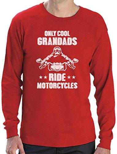 Only Cool Grandads Ride Motorcycles - Geschenk für Opa Langarm T-Shirt Rot