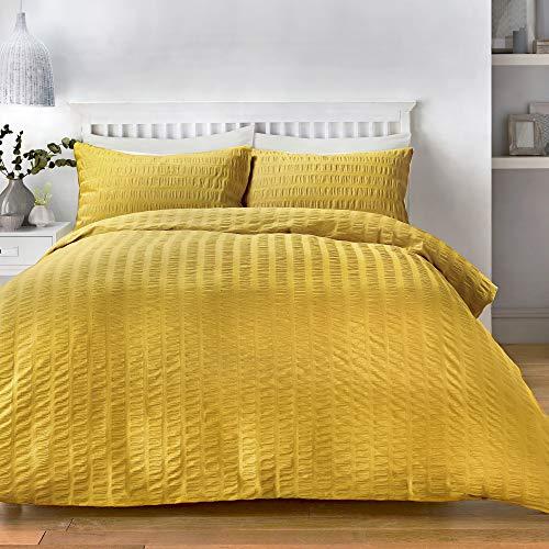Serene Seersucker Parure de lit, 52% Polyester, 48% Coton, Ocre, Double