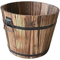 Whiskey – Maceta de medio barril de madera para exteriores, para oficinas, centros comerciales, hoteles, bares, jardines de balcón, hogar, jardín, guardería, hoteles, Flat Mouth Trumpet, Small