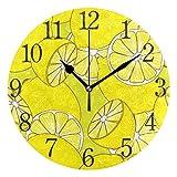 Mnsruu - Reloj de Pared Redondo, diseño de Limones jugosos, Color Amarillo, Pintura al óleo silenciosa para Dormitorio, Sala de Estar, Oficina, Escuela, decoración del hogar