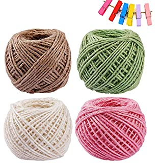 Lezed Decorative Twine + Wooden Clip Linen Thread DIY Hand Working Craft Handmade Decoration Articles Weave Thin Line Used for Garden Living Room Bedroom Hall Office Party Decoration (10 Pcs)