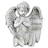 Engel mit Spruch auf dem Flügel Trauerengel Grabschmuck Engelsfigur Gabriel