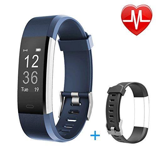 Letsfit Fitness Armbanduhr mit Herzfrequenz, Fitness Tracker, IP67 Wasserdicht Bluetooth Sportuhr mit GPS Aktivitätstracker Schrittzähler, Schlaf Monitor, Kalorienzähler, Pulsuhr für Android/iOS - Analog Gps
