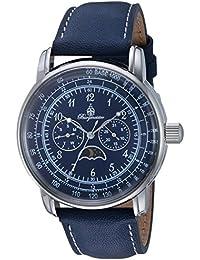 Burgmeister Reloj de cuarzo de hombre con esfera analógica azul y azul pulsera de piel bm335 – 133