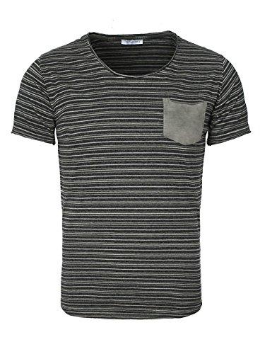 Key Largo Herren T-Shirt STRIPPER Gestreift mit Brusttasche Hinten längerer Schnitt Anthrazit