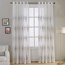 Top Finel Bordado Visillos para Ventanas Cortinas para Habitacion Dormitorio con Ojales,140 x 245 cm,2 Piezas,Gris