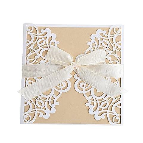 Loegrie 10pcs/50pcs Kit de création de cartes d'invitation de mariage avec enveloppes joints Impression personnalisé pour fête 5 Packs HK19