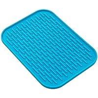 Alfombrillas de silicona impermeables, cuadradas, diseño acanalado, resistente al calor, antideslizantes, alfombrillas de escurridor antibacteriano, multifuncional, para cocina, azul