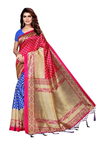 Indian Women's Art Silk Kalamkari and Bhagalpuri Style Sari with Blouse Piece Beat PINK -
