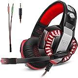 Gaming Headset Mikrofon Micolindun Over-Ear Kopfhörer Gamer für PS4, PC, Laptop, Tablet, Smartphone, LED einstellbarem Kopfbügel Lautstärkenregelung Super Bass Stereo Sound 3,5mm (inkl. Adapter)
