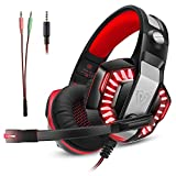 Casque Gaming Gamer PC PS4 avec Micro, Micolindun Audio avec Basses, Anti-Bruit, LED, Compatible pour Xbox One Laptop Mac Phone, Adaptateur Inclus