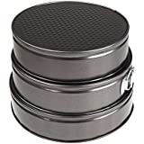 douself Set of Three Springform Pans Tin Metal Cake Bake Mould Mold Bakeware with Removable Bottom Round Shape Versatile Sturdy
