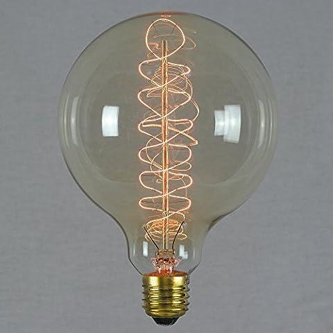 Vintage Retro Edison Glühbirne 60W E27 – Vollständig Dimmbar Spirale Glühfaden Groß Globe 125mm - (Illuminazione Decorativa A Sospensione Illuminazione)