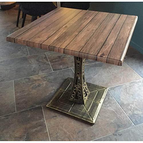 MATHI DESIGN Table Style Eiffel avec Plateau Aspect Bois