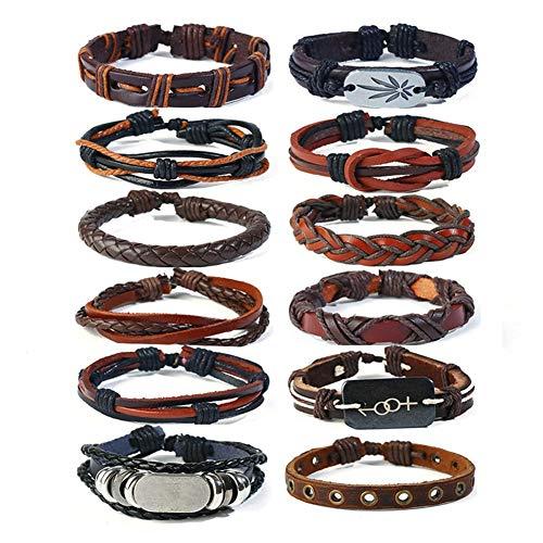 DEQIAODE 12 Teile/Satz Einstellbare Geflochtene Wachs Seil Leder Armband Armband Stulpearmband für Männer & Frauen