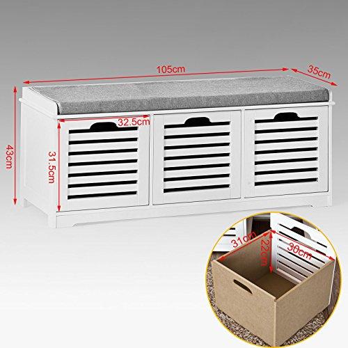 comprare on line SoBuy® Scarpiera da Ingresso, panchina con Cuscino e cestini,FSR23-W,IT prezzo